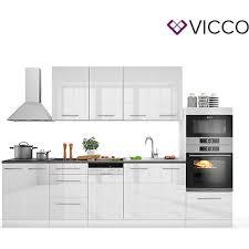 vicco küche fame line küchenzeile küchenblock einbauküche 295cm weiß hochglanz