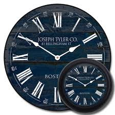 This Is A Rustic Navy Blue Clock That Looks Like As If It On Printed Old Plank Wood The White Accents Pop Against Darker Background