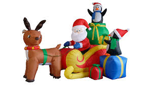 Grinch Blow Up Yard Decoration by Amazon Com 6 Foot Long Christmas Inflatable Santa On Sleigh With