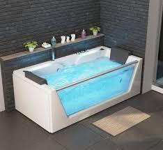 luxus whirlpool badewanne korfu mit 14 düsen glas led bach heizung ozon radio für bad weiss