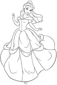 Belle Princess Coloring Pages Rapunzel Disney Ariel In A Dress Games Full Size