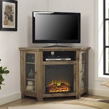 Rustic Corner Wooden Tv Stand With Electric Fireplace Plus Side Cabinet Glass Doors