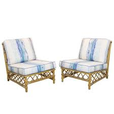 Ficks Reed Lounge Chair by Pair Of Rattan Lounge Slipper Chairs By Ficks Reed At 1stdibs