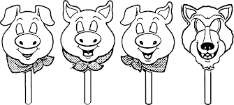 3 Little Pigs Mask Template Coloring Page