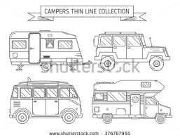 RV Travel Concept Set Camping Trailer Family Caravan Collection Traveler Truck Campsite Place Landscape