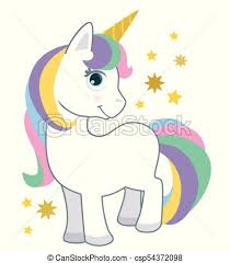 Cute Little Baby Unicorn With Rainbow Hair Isolated On White Cartoon Style Vector Illustration