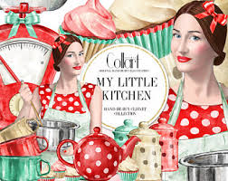 Kitchen Clipart Fashion Girl Illustration Hand Drawn Cooking Bakery Clip