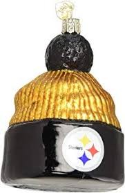 Old World Christmas Ornaments NFL Pittsburgh Steelers Beanie Glass Blown For Tree