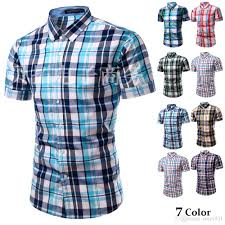 2017 new summer mens casual short sleeve casual shirt men slim fit