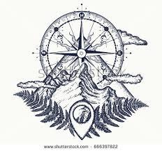 Mountains And Compass Tattoo Symbol Of Tourism Rock Climbing Camping Mountain Top