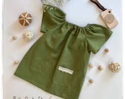 Bella Dress In Olive Green Linen Girls Toddlers Baby