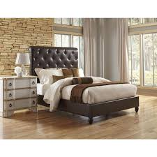Diamond Tufted Headboard With Crystal Buttons by Luxeo Nottingham Sand King Sleigh Bed Lux K6317 222 The Home Depot