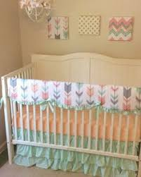 Coral And Mint Baby Bedding by Coral Mint Baby Crib Bedding Set Floral Fawn And Birds Arrow