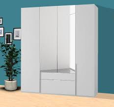 kleiderschrank new york schlafzimmerschrank 180cm weiß spiegel mit schubladen
