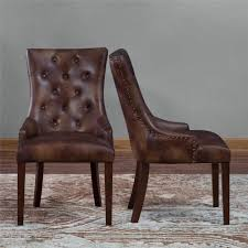 Set Of 2 Rich Brown Leather Dining Chairs Rustic Tufted ...