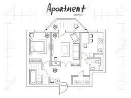 apartment projekt grundriss mit möbeln küche wohnzimmer zwei schlafzimmer und balkon handwritten inschrift