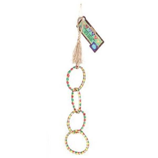 "Planet Pleasures 4-Ring Chain 17"" Small Bird Toy"