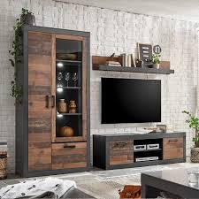 wohnzimmer anbauwand in dunkelgrau und altholz optik loft design 3 teilig