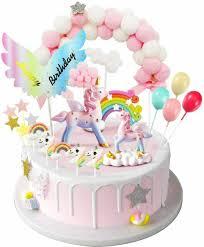tortendeko einhorn geburtstag kuchen regenbogen happy birthday girlande