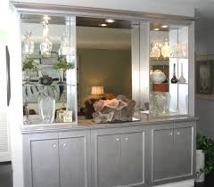 Mirrored Built In Buffet Forest Hill Transitional Living Room