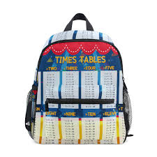 Amazoncom Multiplication Table School Backpack Canvas Rucksack