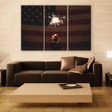 American Flag Canvas Print 3 Panels Firecracker Art Wall Deco Fine Photography Repro