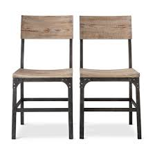 franklin wood seat dining chair set of 2 weathered gray