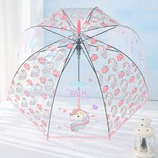 Cute Unicorn Transparent Long Umbrella