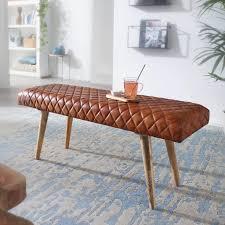 finebuy sitzbank echtleder massivholz bank 115x53x38 cm 2er polsterbank flur esszimmer braun kleine bettbank leder dielenmöbel flurbank