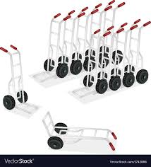 Group Of Hand Truck Or Dolly On White Background Vector Image