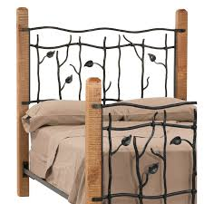 Wrought Iron And Wood King Headboard by Bedroom Wooden And Metal King Size Bed With Leaf Carved Headboard