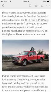 The 2018 Ford F-150 Diesel Should Score 30 MPG Highway And Make Tons ... 2019 Ford F150 Diesel Gets 30 Mpg Highway But Theres A Catch Vehicle Efficiency Upgrades In 25ton Commercial Truck 6 Finally Goes This Spring With And 11400 Image Of Chevy Trucks Gas Mileage 2014 Silverado Pickup 2l Mpg Ford Enthusiasts Forums Concept F250 2017 Gmc Canyon Denali First Test Small Fancy Package My Quest To Find The Best Towing Dodge Ram 1500 Slt 1998 V8 52 Lpg 30mpg No Reserve June Dodge Ram 2500 Unique 2011 Vs Gm Hyundai To Make Version Of Crossover Truck Concept For Urban 20 Quickest Vehicles That Also Get Motor Trend
