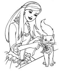 Barbie Coloring Pages And Her Cat