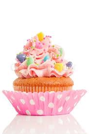 Pink cupcake on white background