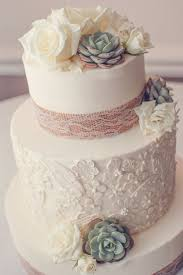 Rustic Chic Cake The Wedding Featured A Lace Pattern On One Of Tiers