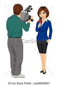 Back View Of Cameraman Recording Female Journalist Or TV Reporter Presenting The News In Studio