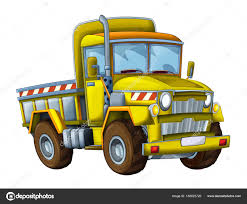 Cartoon Happy Funny Construction Site Truck White Background Smiling ...