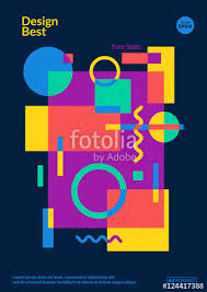 Static Design Poster Simple Colorful Geometric Shapes Overlap Eps10 Template For Posterbrochure