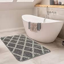 paco home moderne badematte mit rauten design hochflor badteppich in grau weiß grösse 40x55 cm