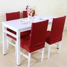 PiccoCasa Elastic Polyester Dining Room Chair Covers Set Of 4 Solid Color