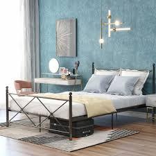 metallbett hochwertiger metallbettgestell 140 x 200cm mit kopf und fußteil bett für schlafzimmer schwarz moderner einzelbett