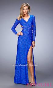 v neck long sleeve lace long prom dress by la femme style lf