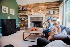 How To Do A Wood Accent Wall Living Room Eclectic With Floating Shelves