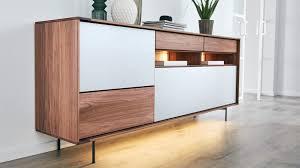 interliving esszimmer serie 5602 sideboard colorado nussbaum lichtgrauer lack zwei klappen drei schubladen