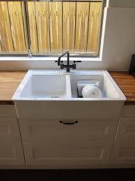 Ikea Domsjo Double Sink Cabinet by Domsjo Double Bowl Top Mount Sink On Ikea With Vintage Wrought