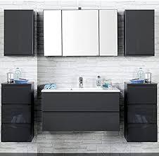 badezimmer set como 03 4 teilig hochglanz grau 100cm