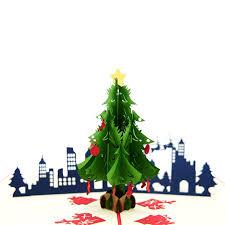 Christmas City Night Pop Up Card Tree Red 3d Supplier Vietnam Manufacturer Charmpop