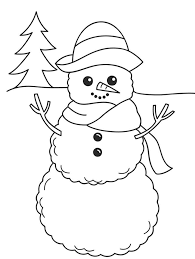 Coloring Pages Winter Smiling Snowman