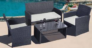Walmart Patio Tables Only by Walmart 4 Piece Rattan Patio Furniture Set Only 199 98 Shipped
