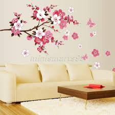 Sakura Flower Butterfly Cherry Blossom Wall Decal Nursery Tree Flowers Art Kids Room Sticker Nature Decor In Stickers From Home